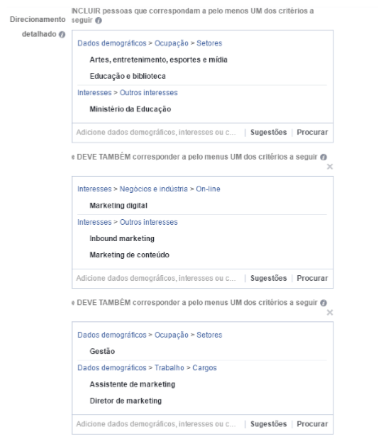 interesses no facebook