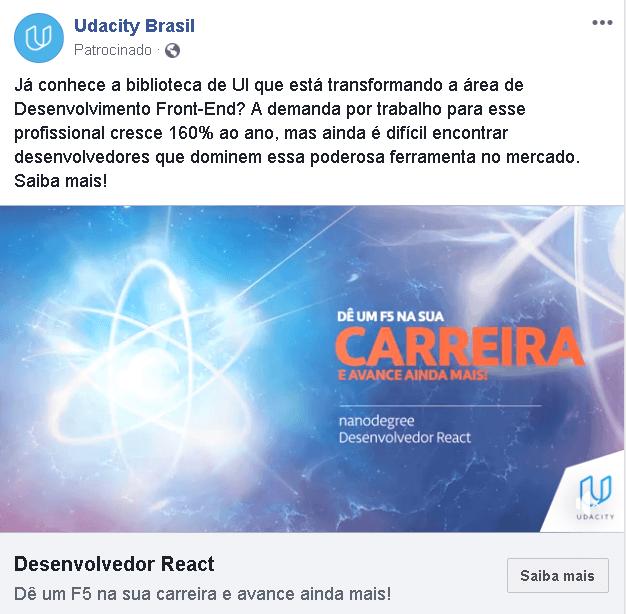 anuncio facebook udacity