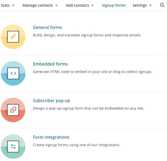 formulários mailchimp