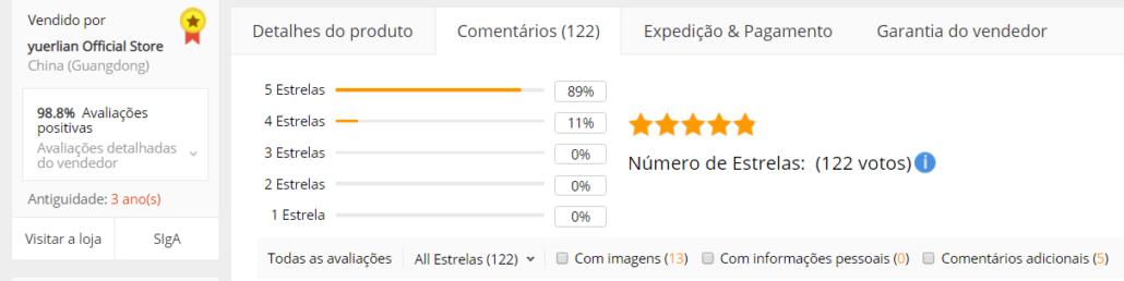 avaliações clientes Aliexpress