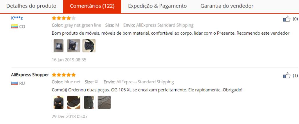 comentários de clientes no AliExpress